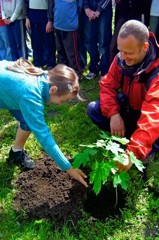 Figure 2. Tree planting with TWIG at Grommotte Primary School, Poland. Photo: Malaika Sarco-Thomas.