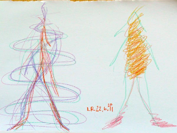 Drawing by Leena Rouhiainen with images from the beginning and ending of an exploration session. Photo: © Leena Rouhiainen.